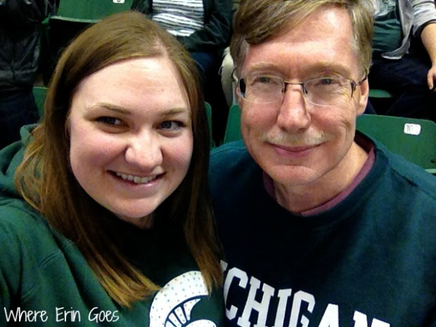 With my dad at my very first Michigan State basketball game on March 1, 2014, at the Breslin Center in East Lansing, Mich. (Photo by Erin Klema.)