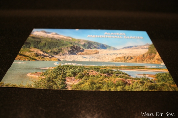 """Amanda notes on this postcard that Mendenhall Glacier loses 400 feet every year as it recedes. """"It's so amazing to look at. Also, the park ranger was super hott."""" There you have it, folks. Glaciers and park rangers -- Alaska is full of beautiful scenery."""