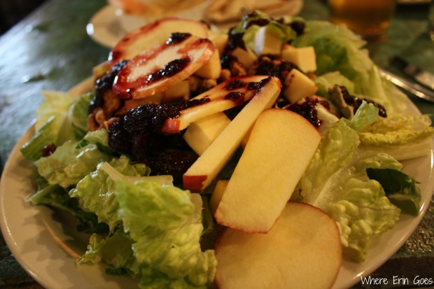 The Michigan Salad is apples, candied walnuts, cherries, smoked gouda cheese and a house-made blueberry dressing over Romaine lettuce. It's so filling! (Photo by Erin Klema.)