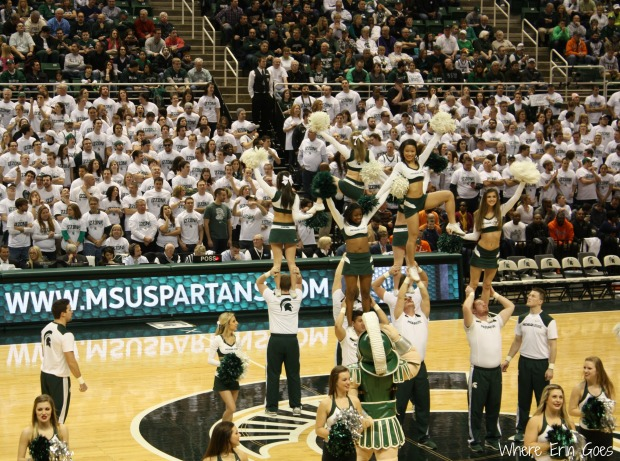 The Michigan State cheerleaders perform during a break in the action. (Photo by Erin Klema.)