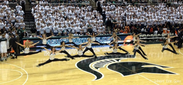 The MSU Dance Team performs a high-energy routine at center court. (Photo by Erin Klema.)