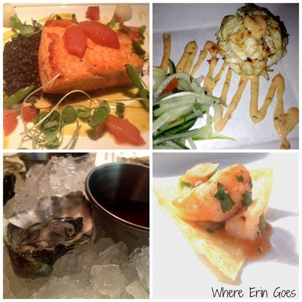 Delicious seafood during our Naples, Fla. vacation: Ora King Salmon at Sea Salt, Jumbo Lump Crab Cake at T-Michaels Steak & Lobster House, lobster and shrimp ceviche at Coconut Jack's Waterfront Grille in Bonita Springs and oysters at Sea Salt. (Photos by Erin Klema.)
