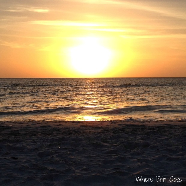 The sun sets over the Gulf of Mexico on March 16 at the beach in Naples, Fla. (Instagram photo by @erinklema)