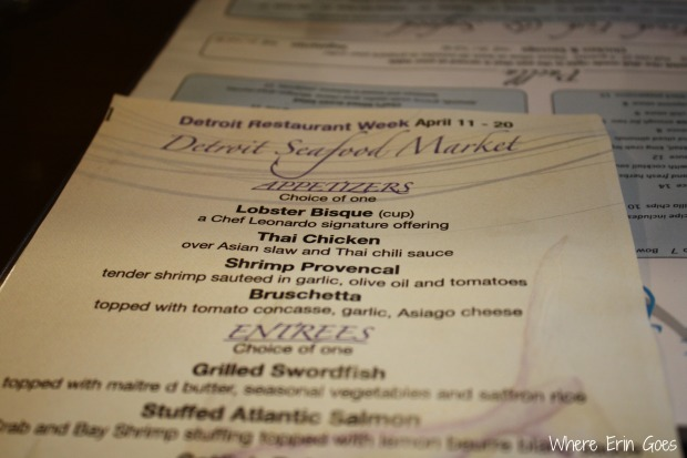 Detroit Seafood Market's Detroit Restaurant Week menu (Photo by Erin Klema)