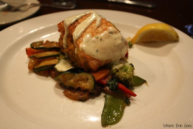 Stuffed Atlantic Salmon entree at Detroit Seafood Market (Photo by Erin Klema)