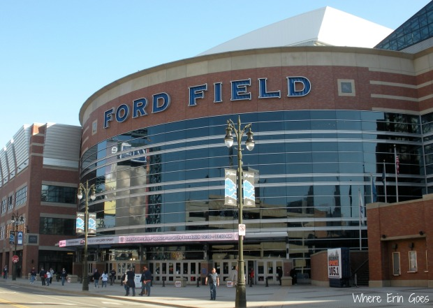 Tigers fans mill about in front of Ford Field around 10 a.m. on Opening Day. (Photo by Erin Klema.)