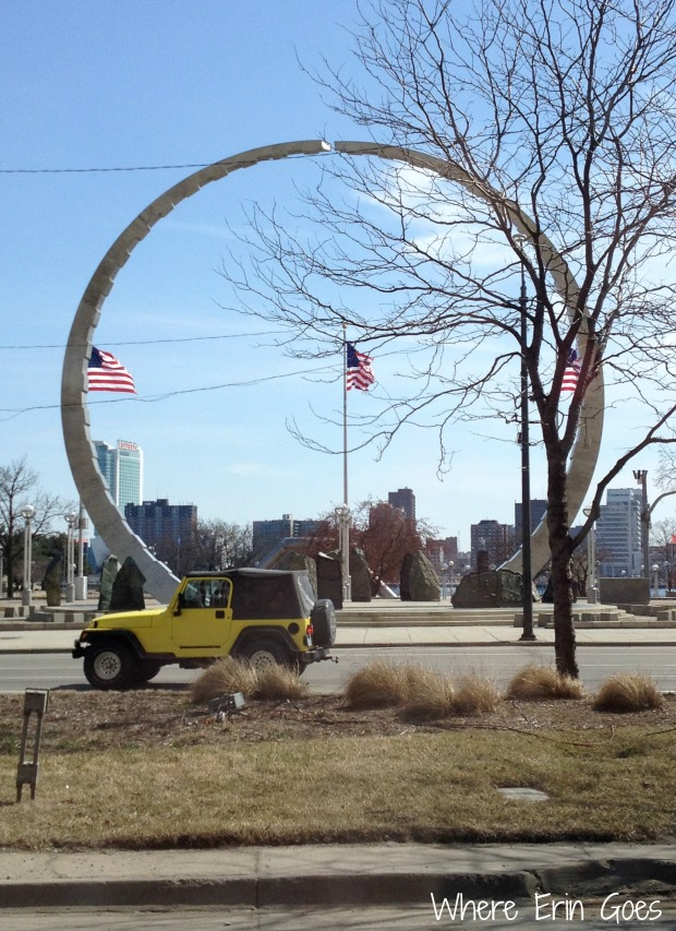 The Labor Monument at Hart Plaza along the riverfront in downtown Detroit. (Photo by Erin Klema.)