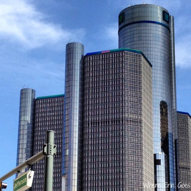 General Motor's world headquaters, the Renaissance Center, in downtown Detroit. (Photo by Erin Klema.)