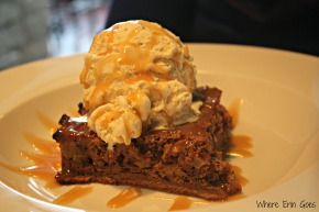 Michigan Apple Cake is topped with ice cream and drizzled with caramel sauce. (Photo by Erin Klema)