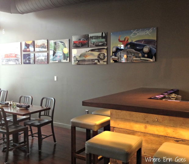 The Grille Midtown has sleek design -- just like the Detroit-made vehicles in many of the posters hanging around the dining room. (Photo by Erin Klema)
