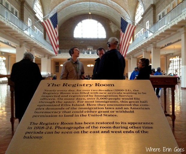 The Registry Room at Ellis Island, where immigrants entered America. (Photo by Erin Klema)