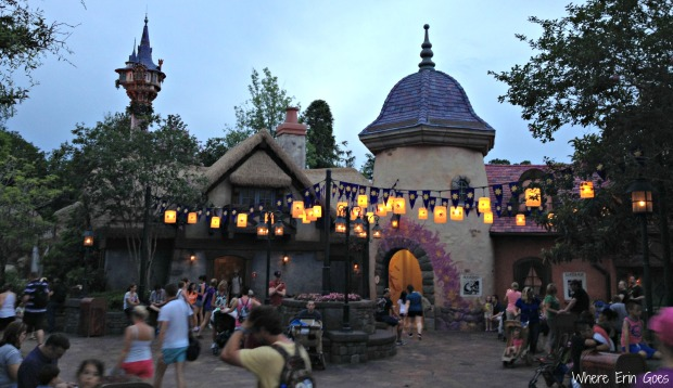 """Disney World visitors rest and recharge at this """"Tangled""""-themed village outfitted with charging stations for mobile phones. (Photo by Erin Klema)"""