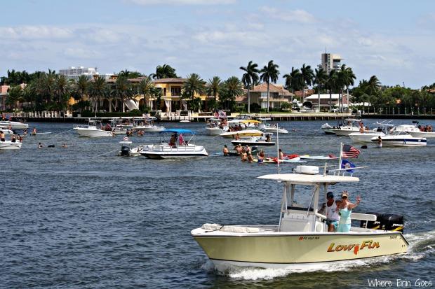Intercoastal Waterway sand bar party in Fort Lauderdale, Fla. (Photo by Erin Klema)