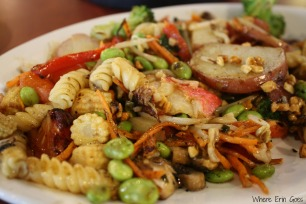 My stir-fry at bd's Mongolian Grill was heavy on the veggies. (Photo by Erin Klema)
