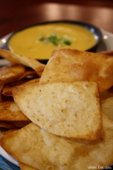The Plum Crazy Queso Dip appetizer comes with crispy chips. (Photo by Erin Klema)