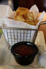 The crab ragoons are fried wontons stuffed with seafood and cream cheese. They are served with a delicious sweet chili sauce. Yum! (Photo by Erin Klema)