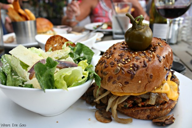Veggie burger and Caesar salad at Shooters Waterfront in Fort Lauderdale, Fla. (Photo by Erin Klema)