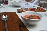 Strawberry gazpacho and It's A Rose World wine flight at Reserve in Grand Rapids, Mich. (Photo by Erin Klema)