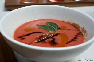 Strawberry gazpacho at Reserve in Grand Rapids, Mich. (Photo by Erin Klema)