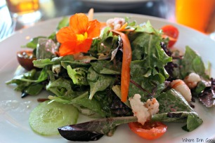 The strawberry salad with shrimp at Bidwell. Tasty and healthy! (Photo by Erin Klema)