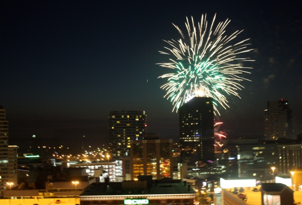 Fireworks burst over downtown Grand Rapids over the Fourth of July weekend. (Photo by Erin Klema)