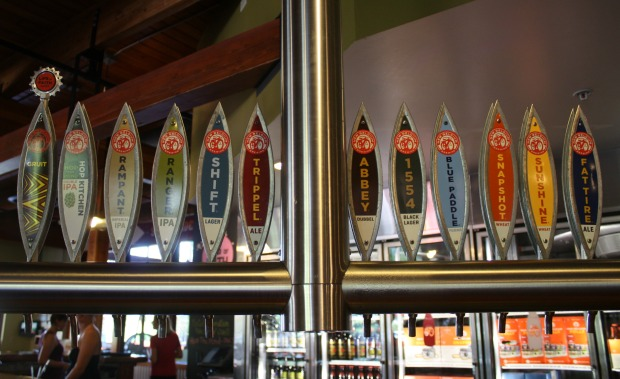 New Belgium Brewery's lineup of beers! (Photo by Erin Klema)