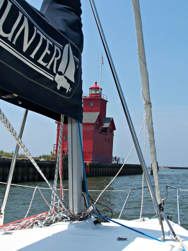 Sailing Lake Michigan past the Big Red Lighthouse in Holland, Mich. (Photo by Erin Klema)