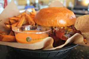 The Western Burger and hand-cut fries with mango chutney at Empire Burger in Breckenridge, Colo. (Photo by Erin Klema)