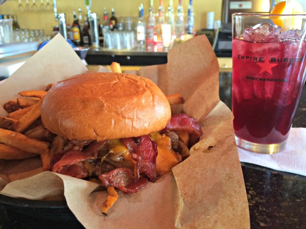 My delicious meal at Empire Burger: Western burger, fries with sweet mango chutney, and sangria. Got your mouth watering? (Photo by Erin Klema)