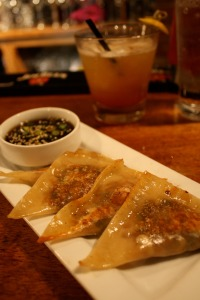 Veggie pot stickers are on the Modis happy hour menu. Yum! (Photo by Erin Klema)
