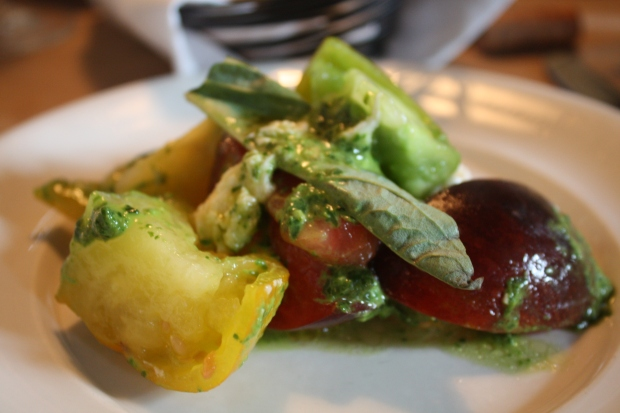 The heirloom tomatoes with fresh mozzarella appetizer at Trattoria Stella in Traverse City, Mich. (Photo by Erin Klema)