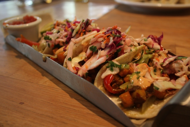 Tasty street tacos at all-vegetarian eatery Watercourse Foods in Denver (Photo by Erin Klema)